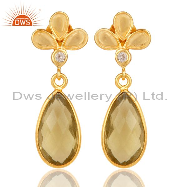 18K Gold Plated Lemon Topaz and White Topaz Sterling Silver Dangle Earring
