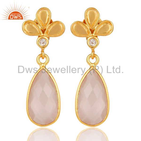 18K Gold Plated Rose Chalcedony and White Topaz Sterling Silver Dangle Earring