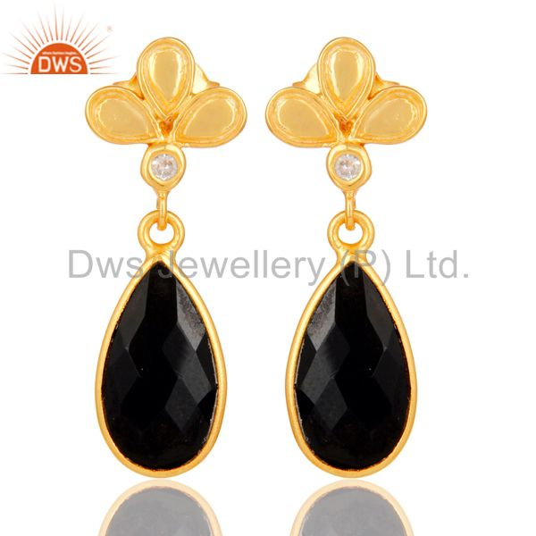 18K Gold Plated Black Onyx and White Topaz Sterling Silver Dangle Earring