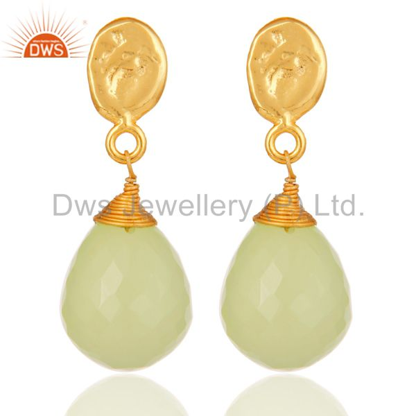 Prehnite Chalcedony 18K Gold Plated Sterling Silver Drop Earring