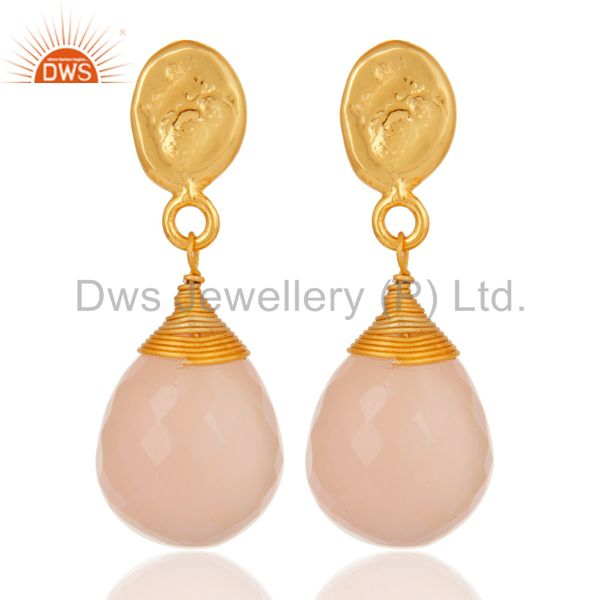 Rose Chalcedony 18K Gold Plated Sterling Silver Drop Earring