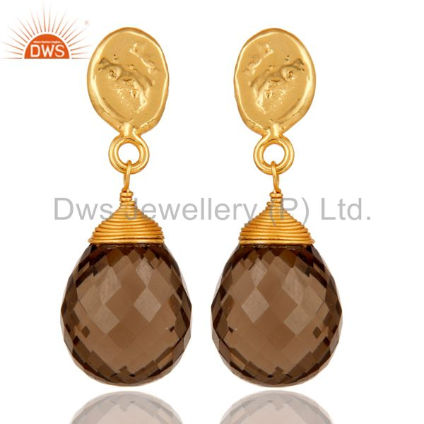 Smokey Quartz 18K Gold Plated Sterling Silver Drop Earring