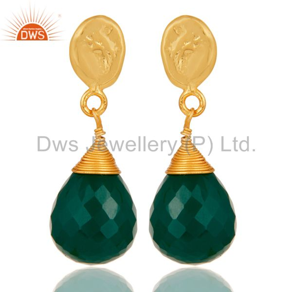 Green Onyx 18K Gold Plated Sterling Silver Drop Earring