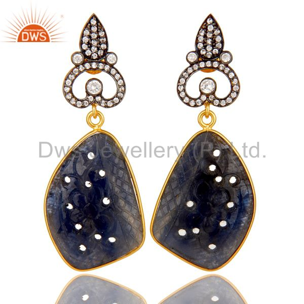 22K Gold Plated Sterling Silver Blue Sapphire Carving Dangle Earrings With CZ
