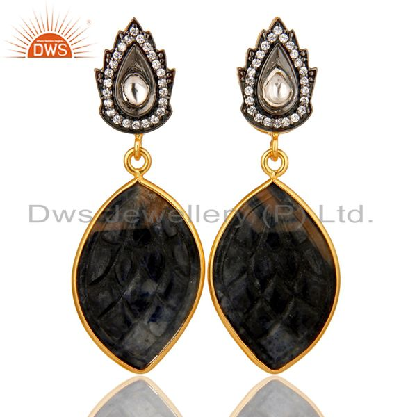 18k Gold Plated Sterling Silver Blue Sapphire Carving Drop Earrings With CZ