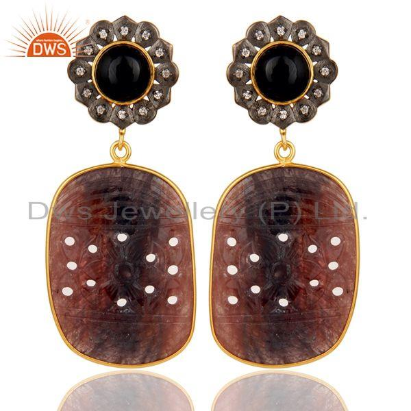 Black Onyx and Sapphire Carving 18K Gold Plated Sterling Silver Lovely Earring