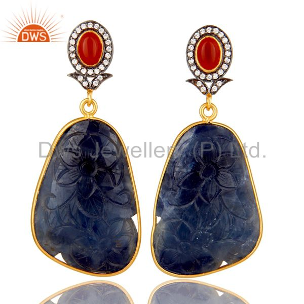 Carved Blue Sapphire And Red Onyx 22K Gold Over Sterling Silver Dangle Earrings