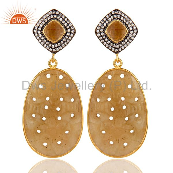 Sapphire Carving and Smokey Drop Earring 18K Gold Plated 925 Silver