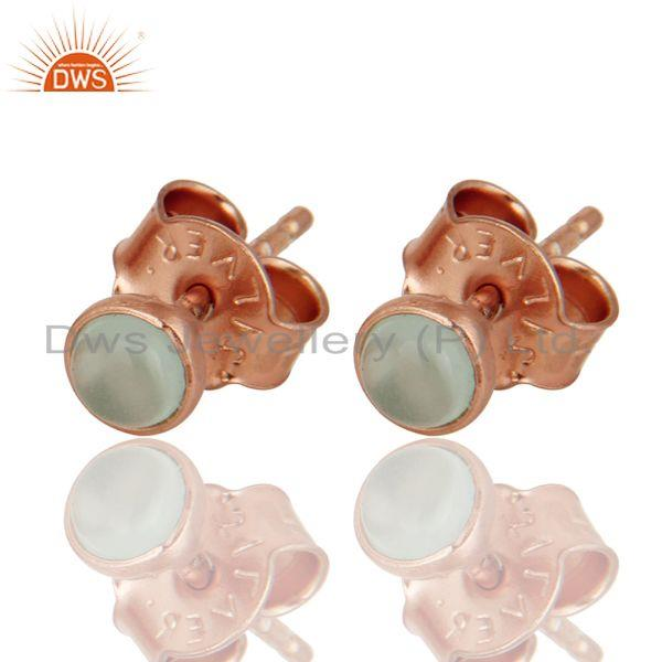 Dyed Aqua Blue Chalcedony 18K Rose Gold Plated Sterling Silver Stud Earrings