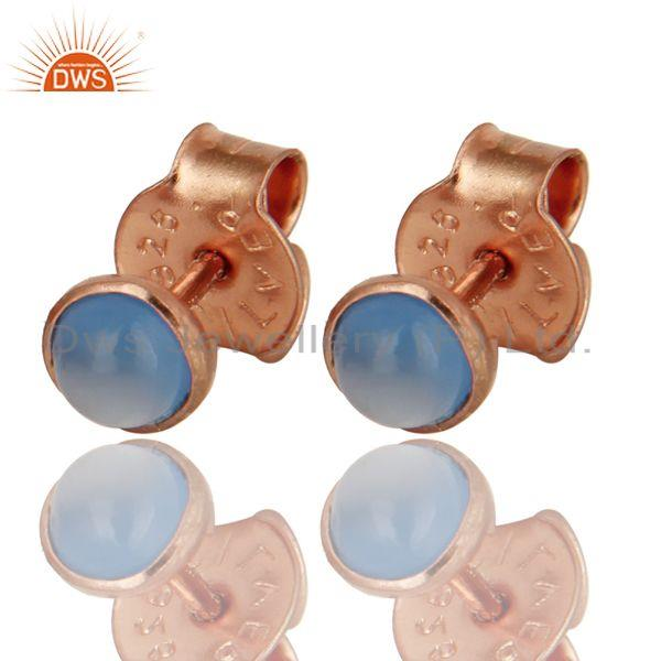 14K Rose Gold Plated Sterling Silver Aqua Chalcedony Stud Earrings