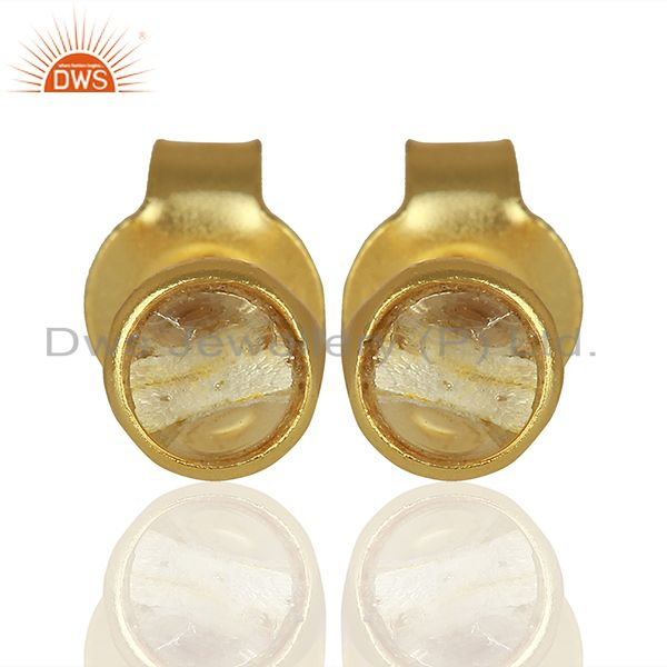 Gold Plated Silver Crystal Quartz Stud Earrings Jewelry Manufacturer