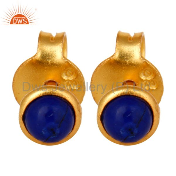18K Yellow Gold Plated Sterling Silver 4mm Round Lapis Lazuli Stud Earrings