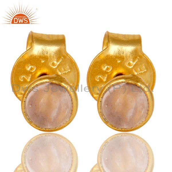18K Yellow Gold Plated Sterling Silver 4mm Round Rose Chalcedony Stud Earrings
