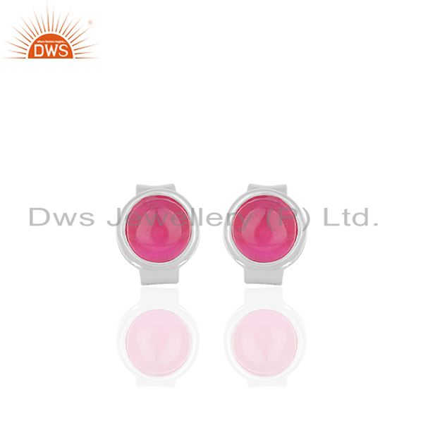 Pink Chalcedony Gemstone Stud Earrings Silver Jewellery Manufacturer