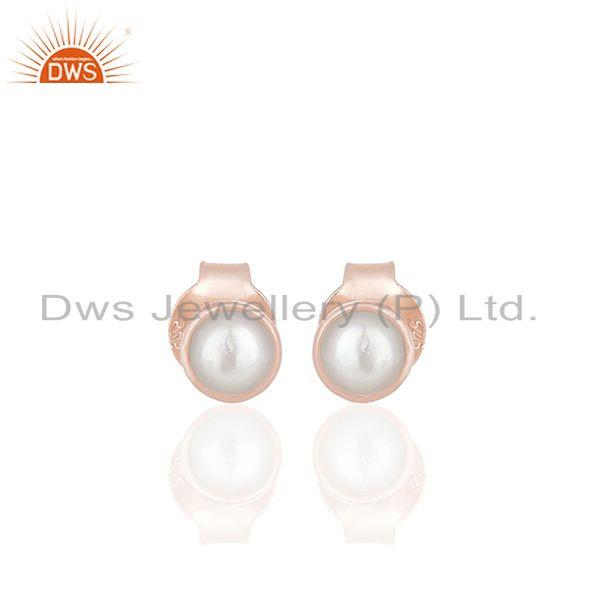 Rose Gold Plated 92.5 Silver Natural Pearl Stud Earring Jewelry