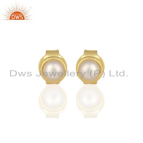 Natural Pearl Gold Plated 925 Silver Stud Earring Jewelry Manufacturer