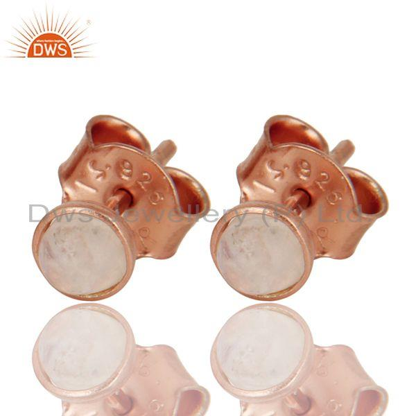 18K Rose Gold Plated Sterling Silver Rainbow Moonstone Womens Stud Earrings