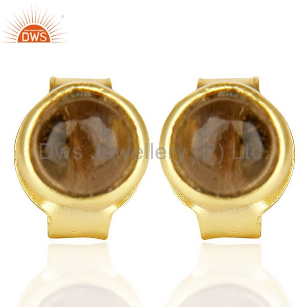Smoky Topaz Cabochon Tiny 4MM Round Stud 14 K Gold Plated Earring