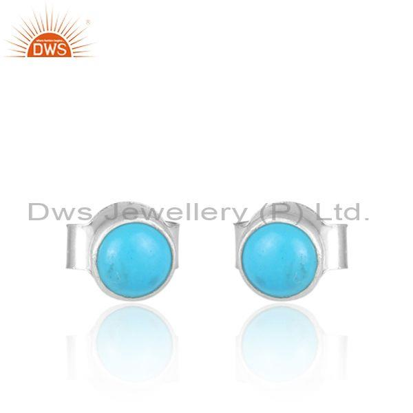 Turquoise set fine 925 sterling silver round stud earrings