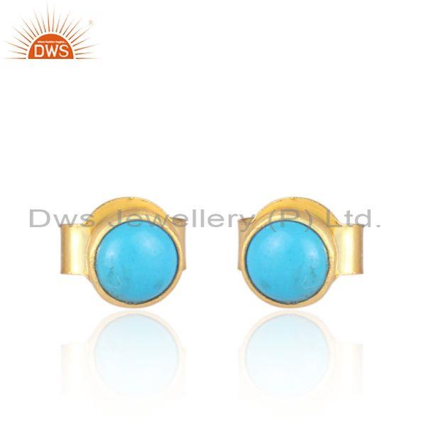 Turquoise set gold on sterling silver round stud earrings