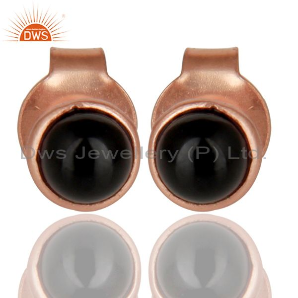18K Rose Gold Plated 925 Sterling Silver 4mm Round Black Onyx Studs Earrings