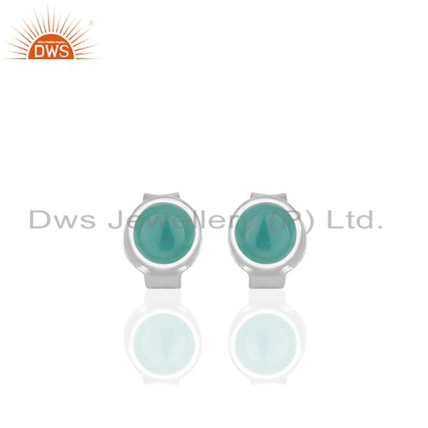 Green Onyx Gemstone 925 Silver Stud Earrings Jewelry Manufacturer