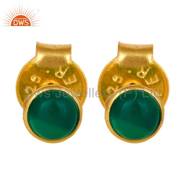 18K Yellow Gold Plated Sterling Silver 4mm Round Green Onyx Stud Earrings