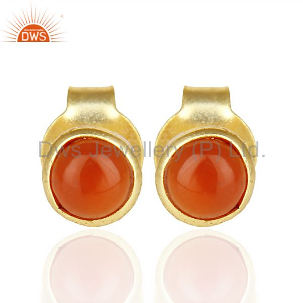 Red Onyx Cabochon Tiny 4MM Round Stud 14 K Gold Plated Earring