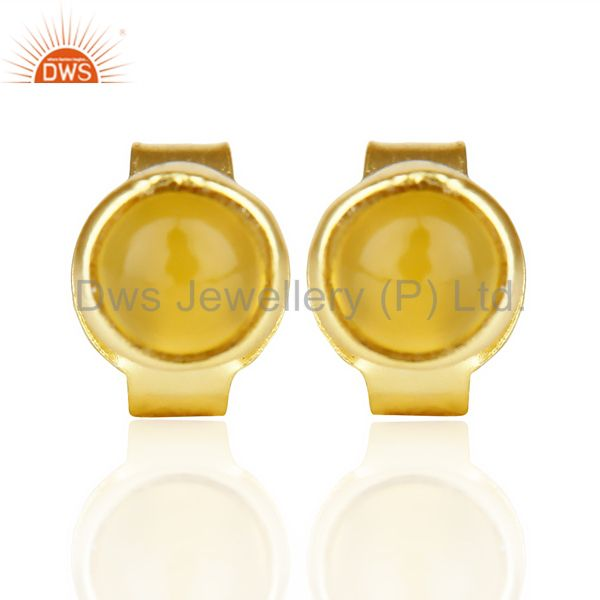 Yellow Chalcedony Cabochon Tiny 4MM Round Stud 14 K Gold Plated Earring