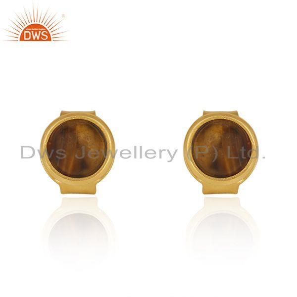 Tiger Eye Gemstone Gold Plated 925 Silver Round Stud Earring Wholesale