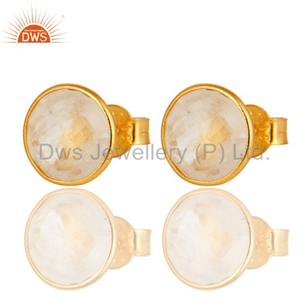 18K Yellow Gold Plated Sterling Silver Dyed Rainbow Moonstone Stud Earrings