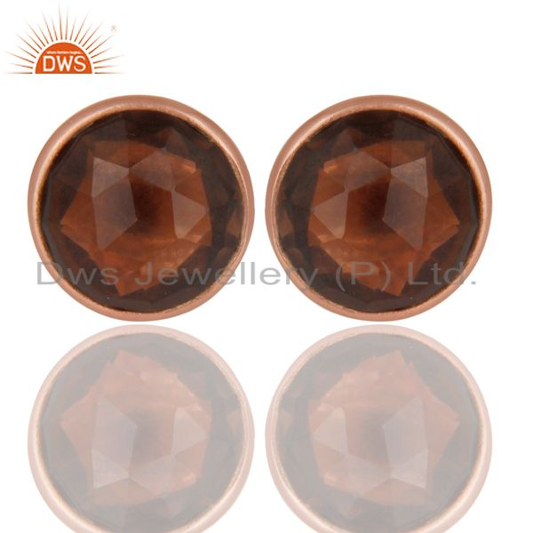 14K Rose Gold Plated 925 Sterling Silver Smokey Topaz Gemstone Studs Earrings