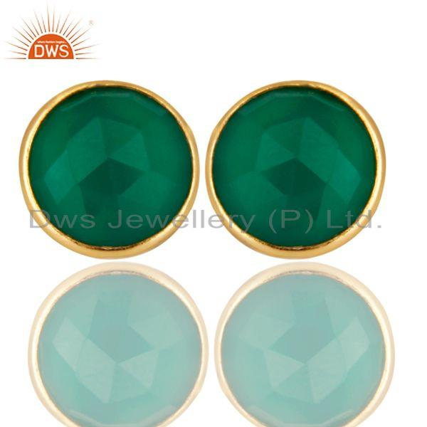 14K Yellow Gold Plated 925 Sterling Silver Green Onyx Gemstone Studs Earrings
