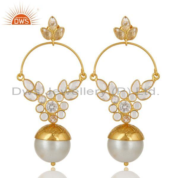 14K Gold Plated Sterling Silver Pearl And CZ Ethnic Designer Dangle Earrings