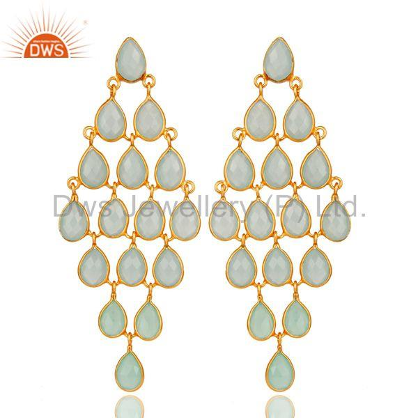 Dyed Aqua Chalcedony Chandelier Earrings In 18K Gold Over Sterling Silver