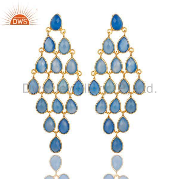 18K Yellow Gold Over Sterling Silver Blue Chalcedony Chandelier Earrings