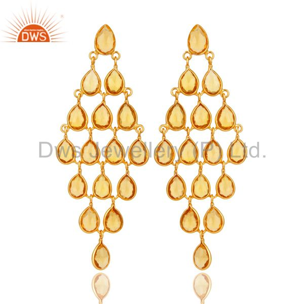 18K Yellow Gold Over Sterling Silver Hydro Citrine Chandelier Earrings