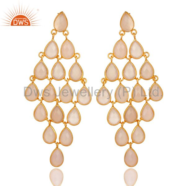 Faceted Rose Chalcedony Chandelier Earrings In 14K Gold Over Sterling Silver