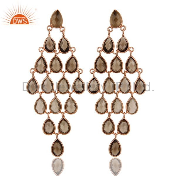18K Rose Gold Over Sterling Silver Smoky Quartz Gemstone Chandelier Earrings