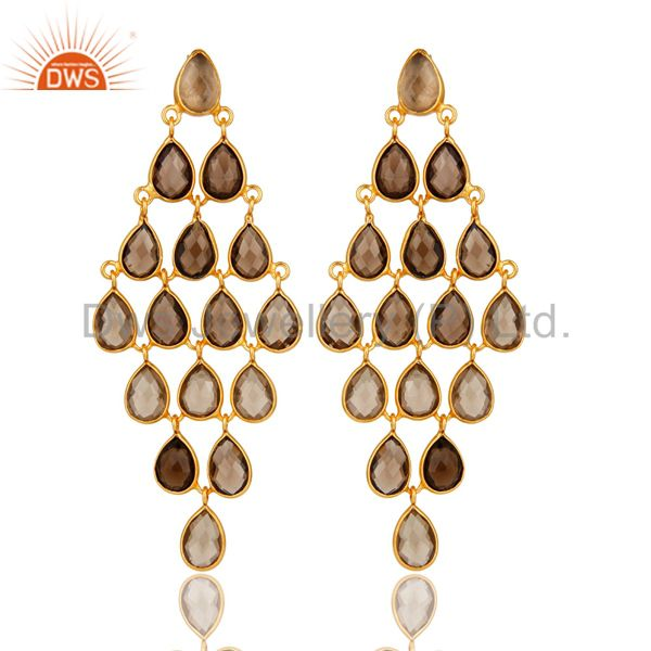 Smoky Quartz Gemstone Sterling Silver Chandelier Earrings With Gold Plated
