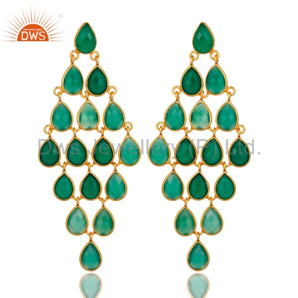 18K Yellow Gold Over Sterling Silver Green Onyx Gemstone Chandelier Earrings