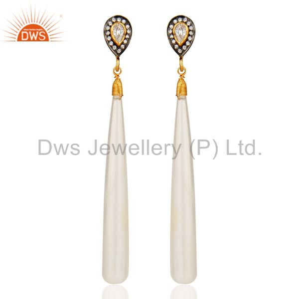 18K Gold Plated Sterling Silver White Chalcedony And Cubic Zirconia Earrings