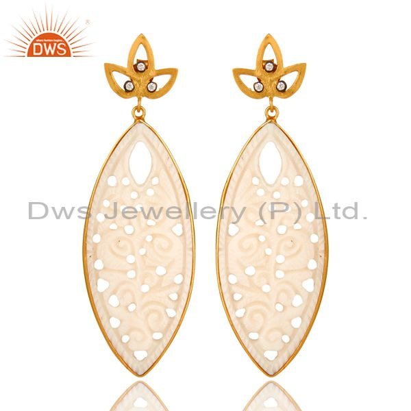 14K Yellow Gold Plated Sterling Silver Carved Mother Of Pearl Dangle Earrings