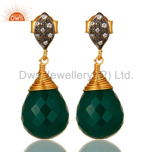 14K Yellow Gold Plated Sterling Silver Green Onyx Drop Earrings With CZ