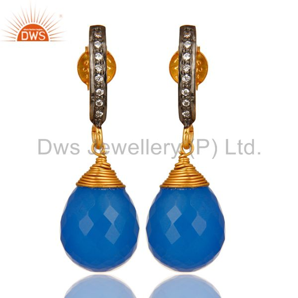 14K Yellow Gold Plated Sterling Silver Blue Chalcedony Drop Earrings With CZ