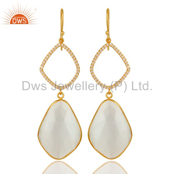 18K Gold Plated Sterling Silver White Moonstone Bezel Set Dangle Earring With CZ