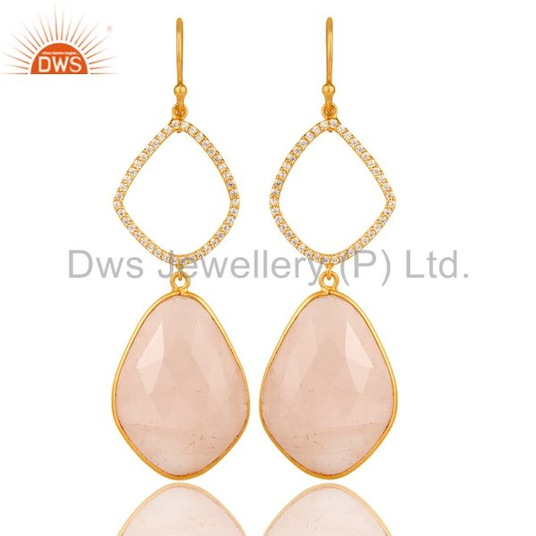 18K Yellow Gold Plated Sterling Silver Rose Quartz And CZ Dangle Earrings