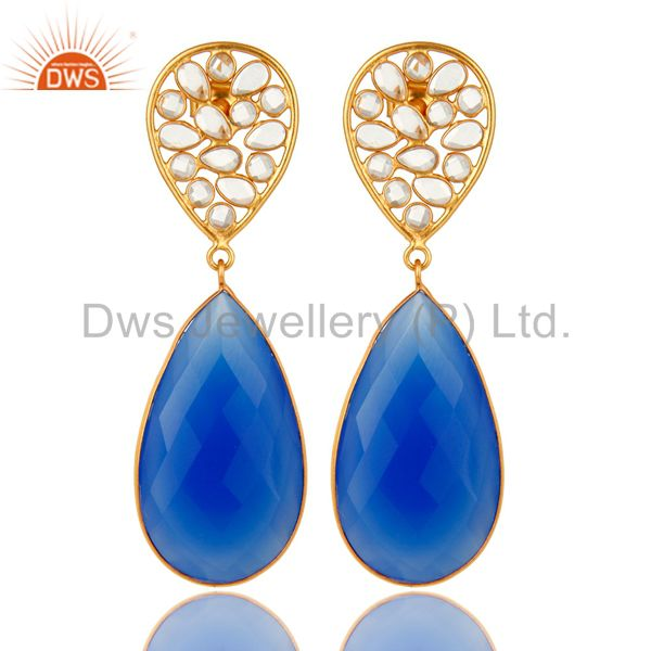 18K Yellow Gold Plated Sterling Silver Blue Chalcedony Bezel Set Dangle Earrings