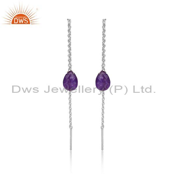Pear Cut Aventurine Natural Amethyst Fine Silver Earrings