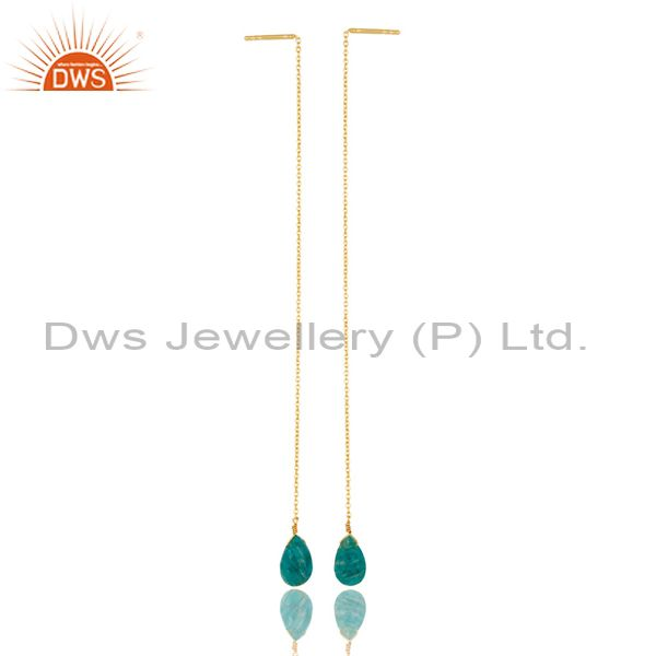 Amazonite Threaded Earring 14K Gold Plated 92.5 Sterling Silver Earring